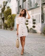dress,short dress,white dress,shoes,bag
