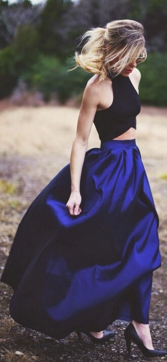 skirt blue skirt royal blue long skirt