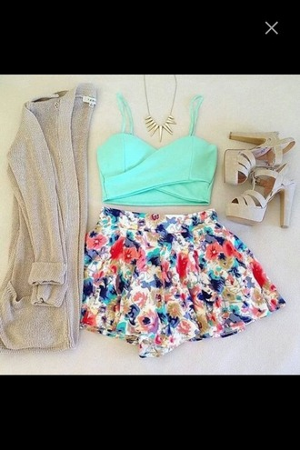 top cardigan heels high heels skirt floral floral skirt crop tops cut out sea green party outfit summer