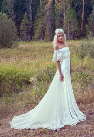 ivory lace wedding dress boho bohemian dress off the shoulder dress crochet vintage 70s style