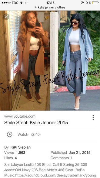 coat blue kylie jenner long coat white crop tops duster coat pastel blue light blue