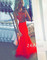 Line red chiffon long prom dresses, evening dresses