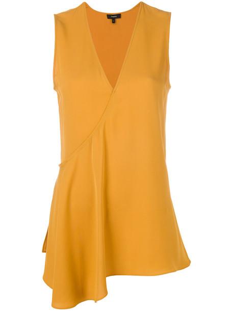 blouse women silk yellow orange top