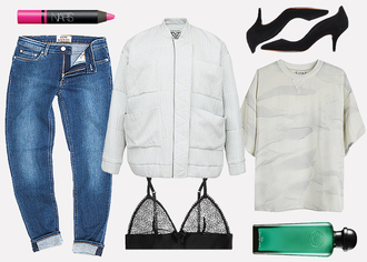 jane's sneak peak blogger jeans jacket top nars pink lipstick bra