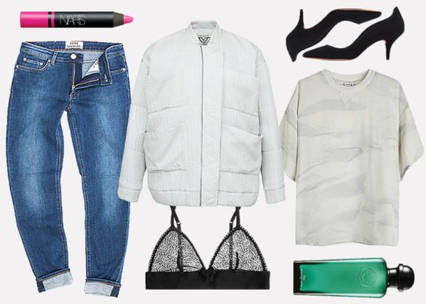 jane's sneak peak blogger jeans jacket top nars cosmetics pink lipstick bra