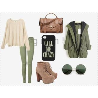 bag sweater pull faux cuir knitwear brown green jeans
