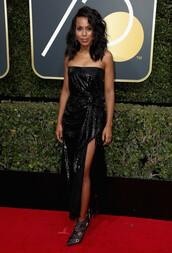dress,strapless,black dress,slit dress,kerry washington,Golden Globes 2018,sequins,sequin prom dress,sequin dress,red carpet dress
