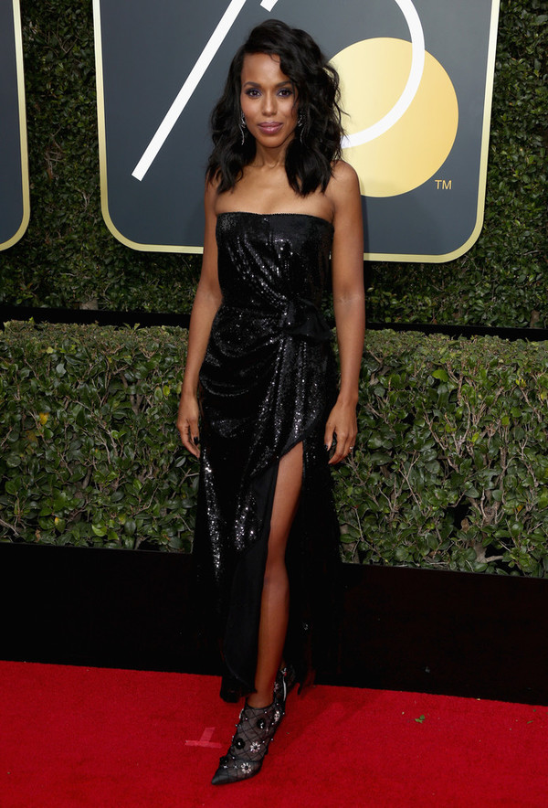 dress strapless black dress slit dress kerry washington Golden Globes 2018 sequins sequin prom dress sequin dress red carpet dress
