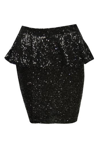 Ladies Mara Sequinned Peplum Skirt In Black | Pop Couture
