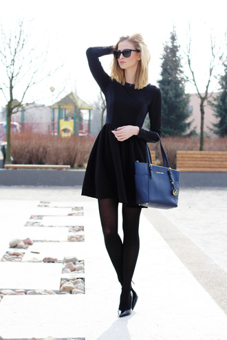 beauty fashion shopping blogger classy blue bag black dress winter dress long sleeve dress michael kors bag dress jewels shoes bag sunglasses