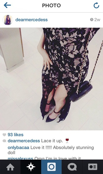 dress black black lace lace maxi dress lace maxi dress chic elegant sexy floral clutch scrappy heels fashion slit skirt slit dress sexy dress must haves floral lace get this look instagram instagramfashion