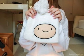 hat cute winter outfits face white beanie adventure time