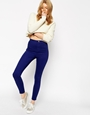 Asos rivington high waist denim ankle grazer jeggings in ultra violet blue at asos.com