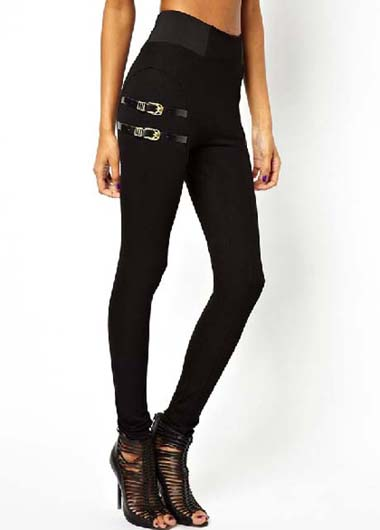 Gorgeous Buckle Embellishment Solid Black Mid Waist Leggings
