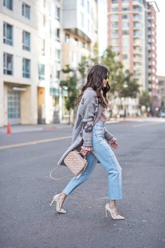 cardigan tumblr grey cardigan denim jeans light blue jeans pumps pointed toe pumps high heel pumps bag handbag