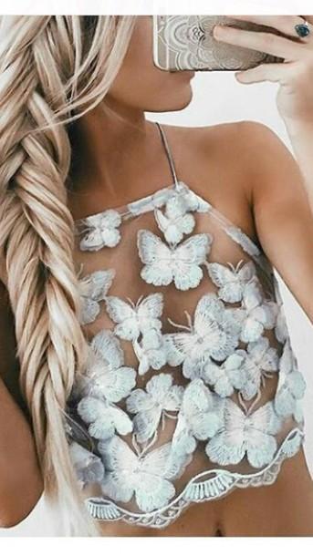 shirt butterfly crop tops white see through tank top papillon bleu ciel top t-shirt transparent nude halter top cute summer halter crop top