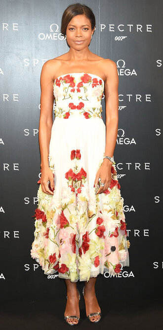 dress midi dress gown strapless floral floral dress flowers naomie harris
