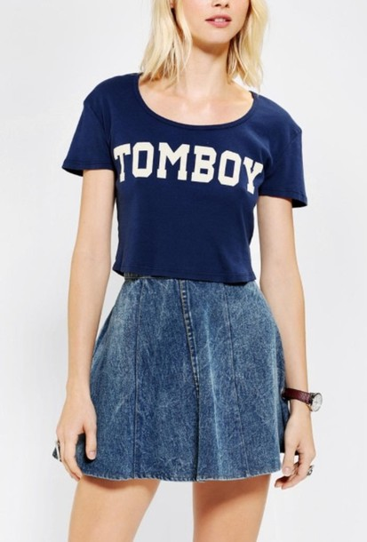 Shirt blue tomboy white graphic tee cute casual crop tops - Wheretoget