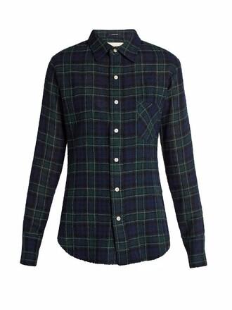 shirt plaid wool black top