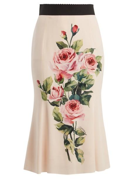 Dolce & Gabbana skirt midi skirt rose midi print silk pink