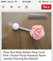 jewels,flowers,belly piercing,belly button ring,pink,silver
