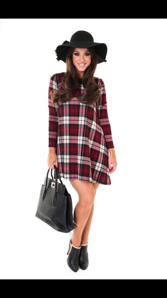dress tartan red dress red underwear shoes boots fall outfits fall dress