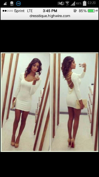 white dress open back chain back short dress dress