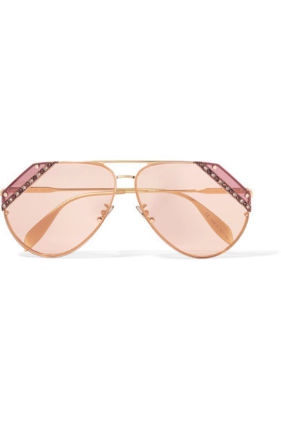 Alexander Mcqueen style embellished sunglasses gold