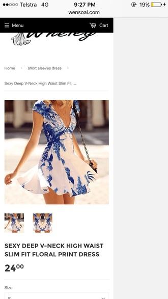 dress blue and white mini dress summer dress v neck dress