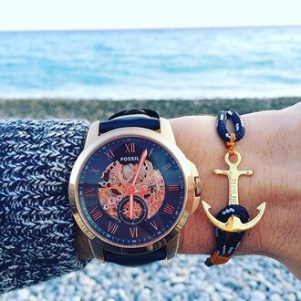 jewels watch fossil fossil watch rose gold blue watch