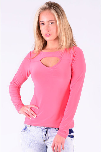 Ladies Sergio Cut Out Top In Coral at Pop Couture UK