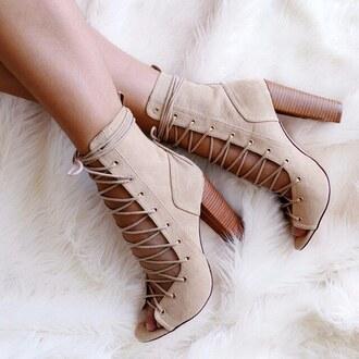 shoes chunky heel chunky sole beige nudes nude bootie booties heels gojane
