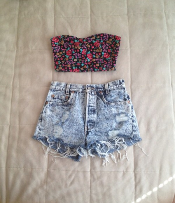 jeans denim shorts High waisted shorts ripped shorts crop tops floral tank top