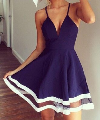 dress navy white summer girly pretty