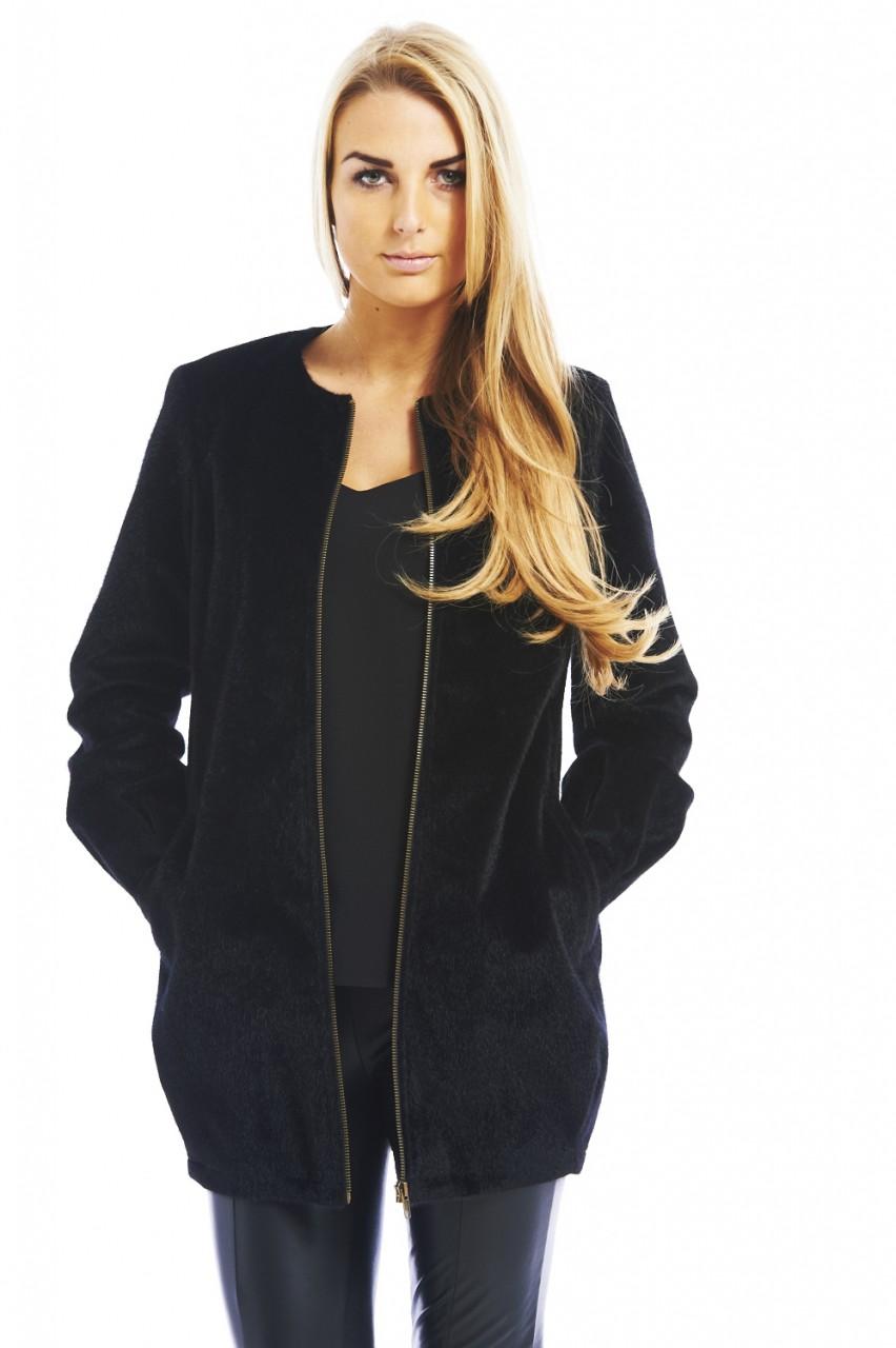 Black pony zip front jacket