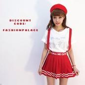 red,skirt,overalls,stripes,kfashion