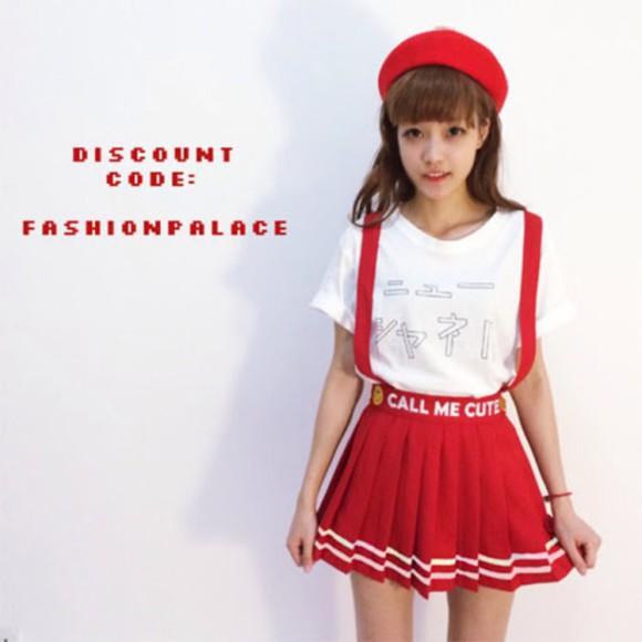 overalls skirt red stripes kfashion