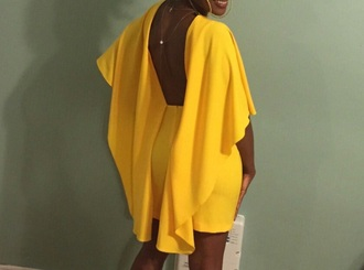 dress yellow backless ruffle