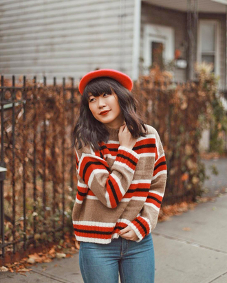 sweater tumblr knit knitwear knitted sweater sweater weather beret hat stripes striped sweater