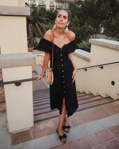 shoes,slide shoes,midi dress,off the shoulder dress,button up,shoulder bag,earrings,black dress