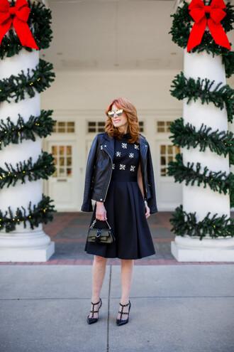 themiddlepage blogger dress jacket shoes bag sunglasses