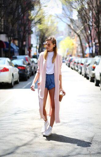 top turtleneck top pastel pink cardigan denim shorts white sneakers blogger