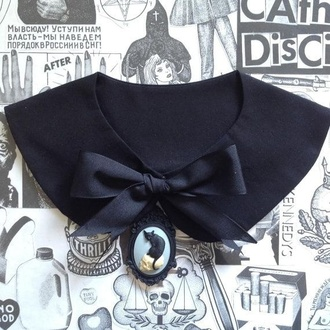 jewels lolita cats goth gothic collar peter pan collar skull black cat sweater ribbon hairband beautiful gothic lolita
