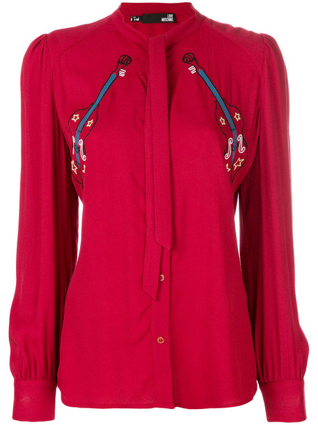 LOVE MOSCHINO blouse women guitar red top