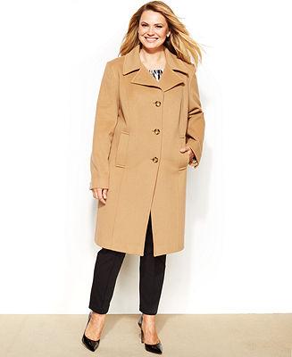Anne Klein Plus Size Wool-Cashmere-Blend Walker Coat - Coats - Women - Macy's