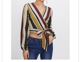 blouse bow thin elegant long sleeves stripes