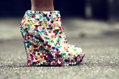 shoes,high heels,wedges,diy,studs,studded,studded shoes,jewelled shoes,jewels,colorful,white shoes,heels