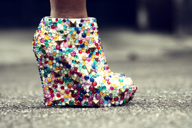 4382303f9e8 shoes high heels wedges diy studs studded studded shoes studded shoes  jewelled shoes jewels colorful white