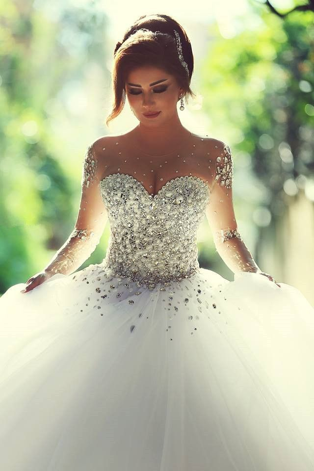 Aliexpress buy sheer full sleeve wedding dresses scoop bridal aliexpress buy sheer full sleeve wedding dresses scoop bridal dress full crystal top tulle ball gown custom made us size 2 4 6 8 10 12 pt111 from junglespirit Choice Image