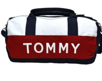 bag tommy hilfiger blue white and red duffle bag tommy hilfiger duffle bag over the shoulder